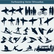 Surfboarding vector silhouettes - Stock Vector