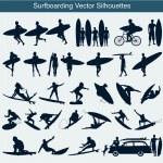 Surfboarding vector silhouettes — Stock Vector
