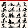 Cycling Vector Silhouettes - Stock Vector