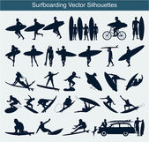 Surfboarding vector silhouettes — Stock Vector