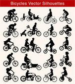 Ciclismo siluetas vector — Vector de stock