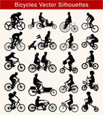Cycling Vector Silhouettes — Stock Vector