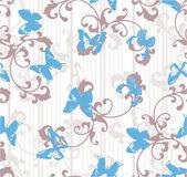 Granica motyle z paskami i kwiatowy elementy. — Wektor stockowy