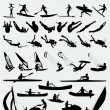Water sports silhouettes   — Stock Vector