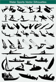 Water sports silhouettes — Stockvektor