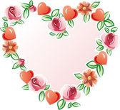 Blommor hjärta — Stockvektor
