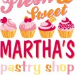 Martha's pastry shop — Stock Vector