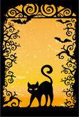 Lindo gatito negro — Vector de stock