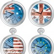 Clocks with flags — Stock Vector