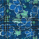 Hibisco flores de patrones sin fisuras — Vector de stock
