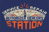 Service station vintage sign board — Stockvektor