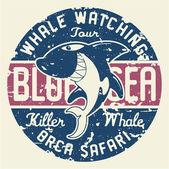 Killer whale badge — Stock Vector