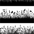 Flowery meadow silhouettes wallpaper — Stock Vector