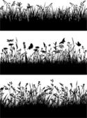 Flowery meadow silhouettes wallpaper — 图库矢量图片