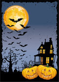 Scary pumpkins by night — Stock Vector