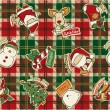Funny Christmas elements with tartan background — Stock Vector
