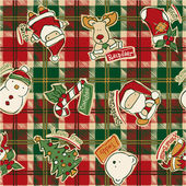 Funny Christmas elements with tartan background — Stockvektor