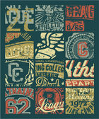 Vintage athletic department badges patchwork — Stockvektor