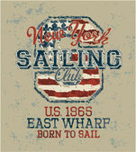 Vintage sailing club — Stock Vector