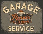 Voiture service vintage « panneau » — Vecteur