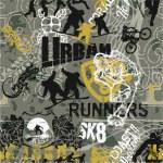 Grunge urban sports patchwork — Stock Vector