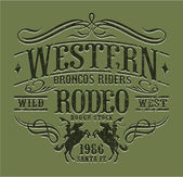 Rodeo jinetes occidental — Vector de stock
