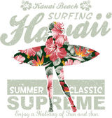 Surf hawaii floral — Vector de stock