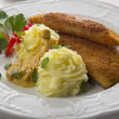 Royalty-Free Stock Photo: Mashed potatoes and fried cheese