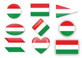 Ungarische Flag gesetzt — Stockvektor