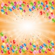 Stock Vector: Beautiful celebratory background with colored balloons