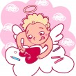 Angel makes a valentine — Stock Vector