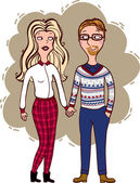 A couple of hipsters — Stock Vector