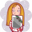 The girl got a tablet-pc as a gift for Christmas. — Stock Vector