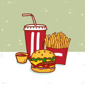 Standard set of fast food — Stock Vector