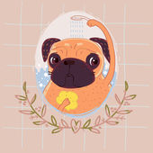 Pug in the shower — Stock Vector