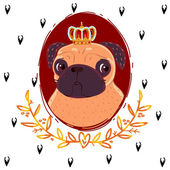 Pug king — Stock Vector