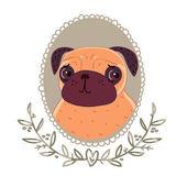 Pug with cute eyes — Stock Vector