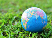 A globe on green grass — Stock Photo