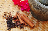 Spices on a sort of bamboo — Stock Photo
