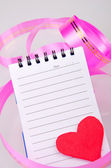 Note book and heart — Stock Photo
