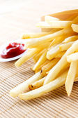 Fries close up and sauce — Stock Photo
