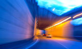 Car moving into tunnel -Abstract View — Stock Photo