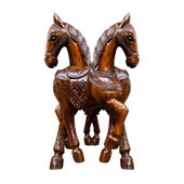 Horse wood carved on white background — Foto Stock