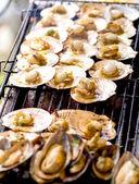 Pétoncles grillés sur le barbecue — Photo
