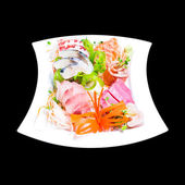 Mixed sashimi in white plate isolated on black background,with c — Stock Photo