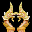 Twin Naga statue isolate on black background — Stock Photo