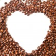 Heart from brown coffee beans and word of love — Stock Photo