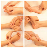 Collection of reflexology foot massage, spa foot treatment — Stock Photo