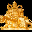 Golden Chinese Prosperity Money God sit on a tiger isolate on bl — Foto Stock