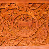 Traditional Thai style wood carving — Stock Photo